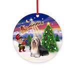 Santa's Take Off & Havanese (BW) Ornament (Round)