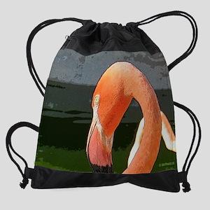 Pink Flamingo  Drawstring Bag