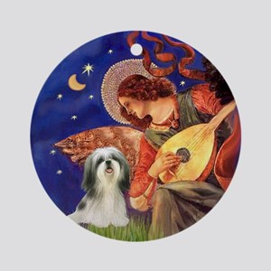 Mandolin Angel & Shih Tzu (4) Ornament (Round)