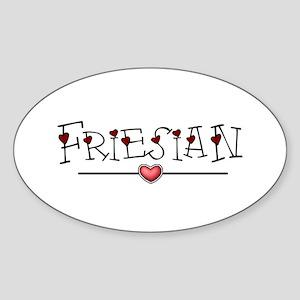 Friesian Hearts Oval Sticker