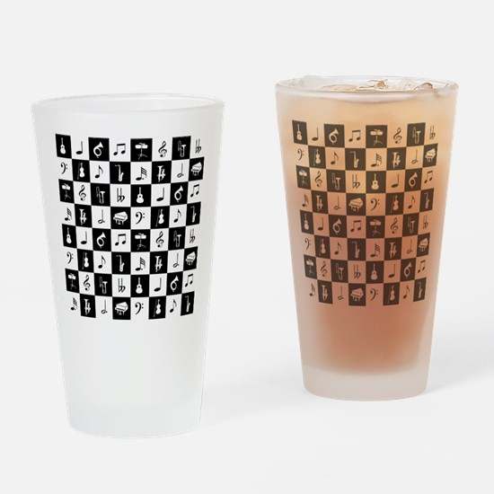 Stylish modern music notes and inst Drinking Glass
