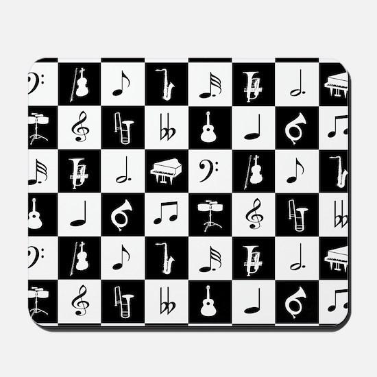 Stylish modern music notes and instrumen Mousepad