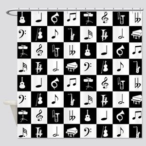 Stylish modern music notes and inst Shower Curtain