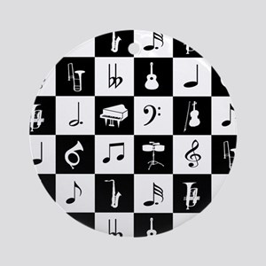 Stylish modern music notes and inst Round Ornament