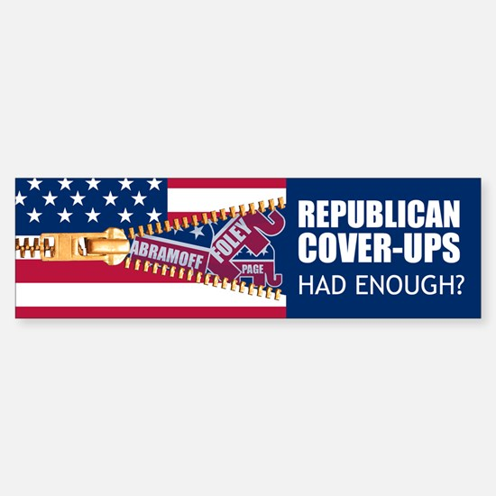 REPUBLICAN COVER-UPS Bumper Bumper Bumper Sticker