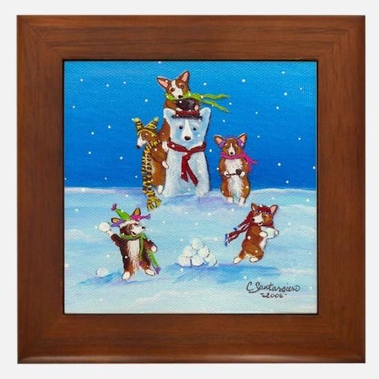 Snow Corgis III Framed Tile