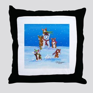 Snow Corgis III Throw Pillow