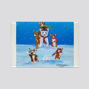 Snow Corgis III Rectangle Magnet