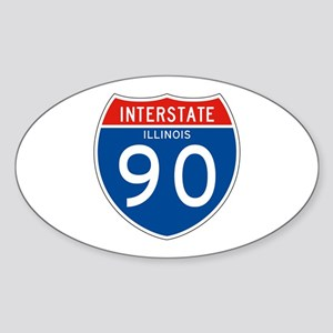 Interstate 90 - IL Oval Sticker