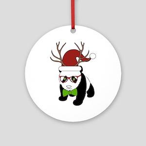 Hipster Christmas Panda Round Ornament