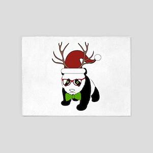 Hipster Christmas Panda 5'x7'Area Rug