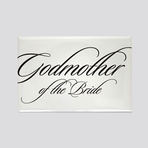 Godmother of the Bride Black Fancy Script Rectangl