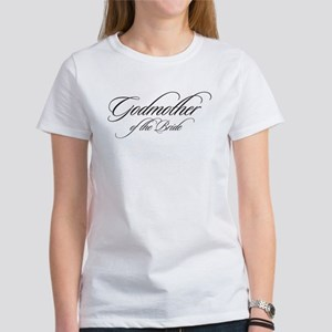 Godmother of the Bride Black Fancy Script T-Shirt