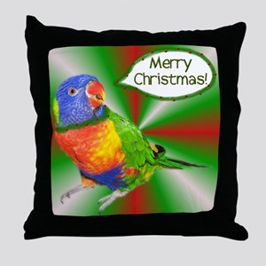 Rainbow Lorikeet Christmas Throw Pillow