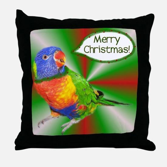 Rainbow Lorikeet Christmas Throw Pillow