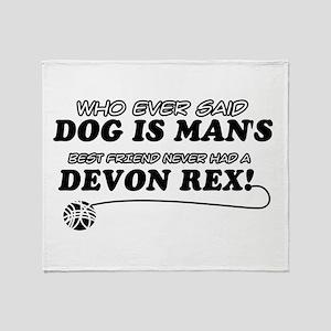 Devon Rex Cat designs Throw Blanket