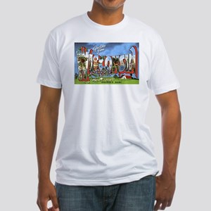 Wisconsin Greetings (Front) Fitted T-Shirt