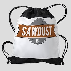 Sawdust is Man Glitter White Drawstring Bag