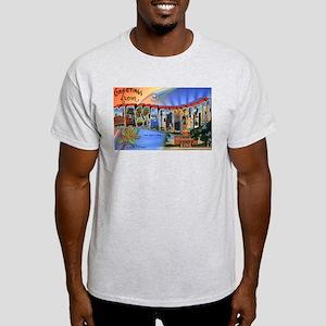 Massachusetts Greetings (Front) Ash Grey T-Shirt