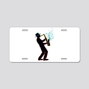Saxophone Player Aluminum License Plate