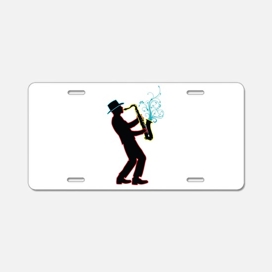 Saxophone Player Aluminum License Plate