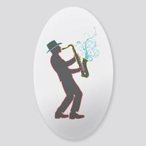 Saxophone Player Sticker (Oval)