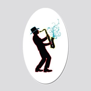 Saxophone Player 20x12 Oval Wall Decal
