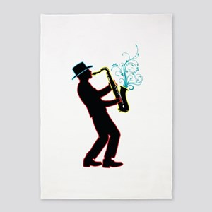 Saxophone Player 5'x7'Area Rug