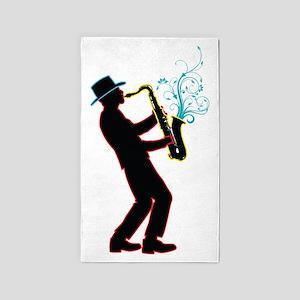 Saxophone Player 3'x5' Area Rug
