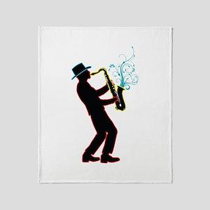 Saxophone Player Throw Blanket
