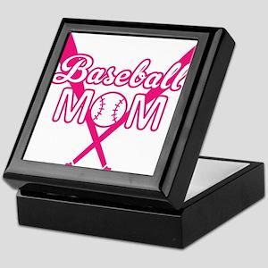 Cute Pink baseball Mom Keepsake Box