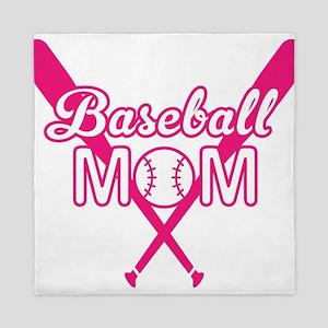 Cute Pink baseball Mom Queen Duvet