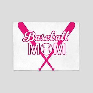 Cute Pink baseball Mom 5'x7'Area Rug