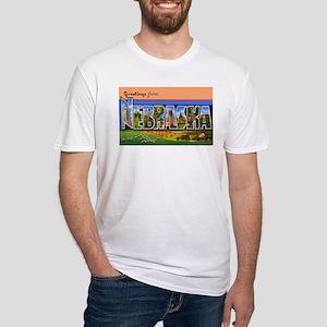 Nebraska Greetings (Front) Fitted T-Shirt