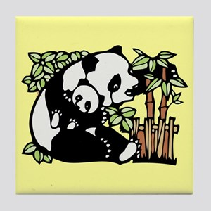 Panda and Panda Cub Tile Coaster