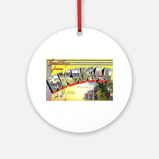 Michigan Greetings Ornament (Round)