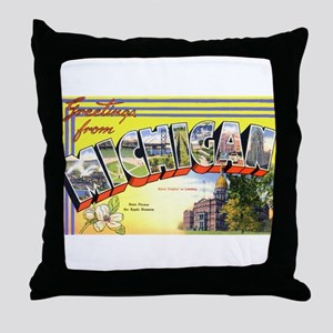 Michigan Greetings Throw Pillow