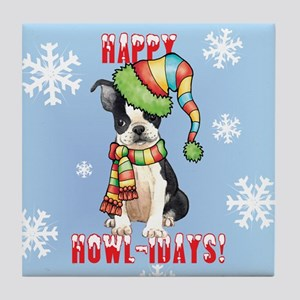 Holiday Boston Terrier Tile Coaster
