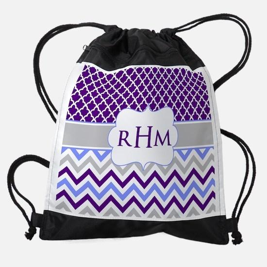 Purple Quatrefoil Chevron Monogram Drawstring Bag