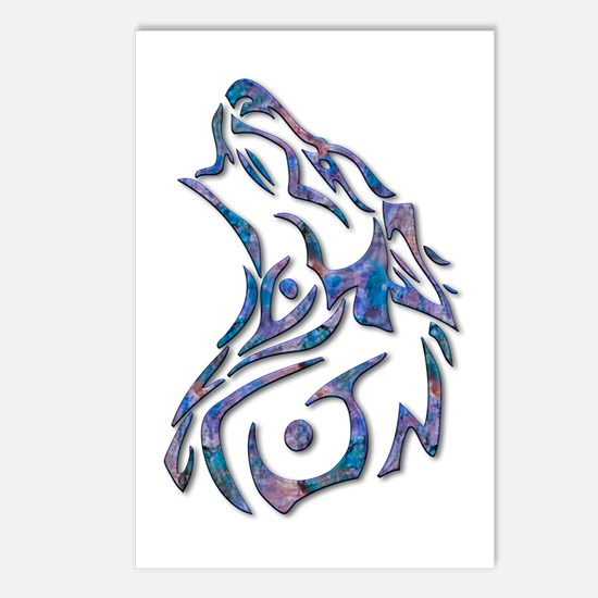 Tribal Wolf Art 9 Postcards (Package of 8)