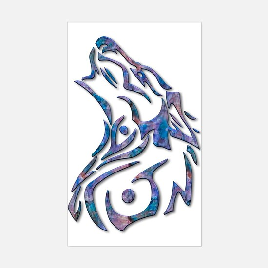Tribal Wolf Art 9 Rectangle Decal