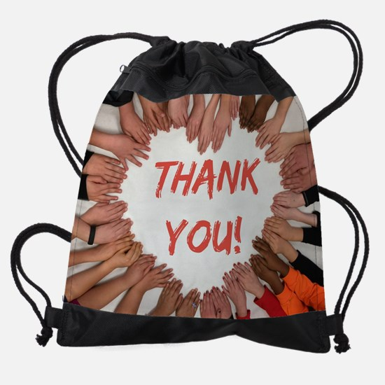 Thank You Heart of Hands Drawstring Bag