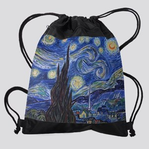 Starry Night, van Gogh art reproduc Drawstring Bag