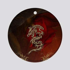 Awesome dragon, tribal design Round Ornament