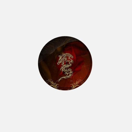 Awesome dragon, tribal design Mini Button