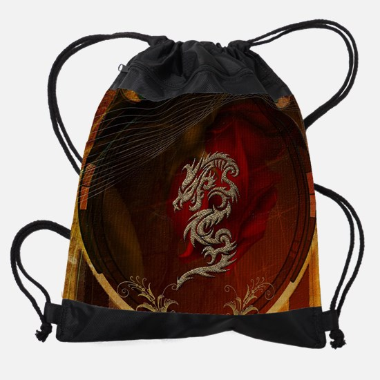 Awesome dragon, tribal design Drawstring Bag