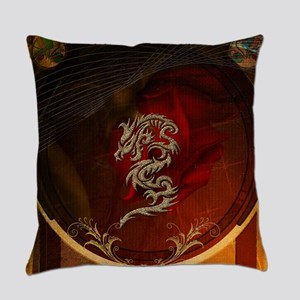Awesome dragon, tribal design Everyday Pillow
