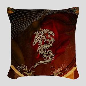 Awesome dragon, tribal design Woven Throw Pillow