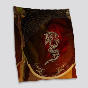Awesome dragon, tribal design Burlap Throw Pillow