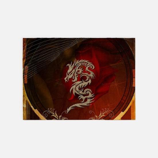 Awesome dragon, tribal design 5'x7'Area Rug